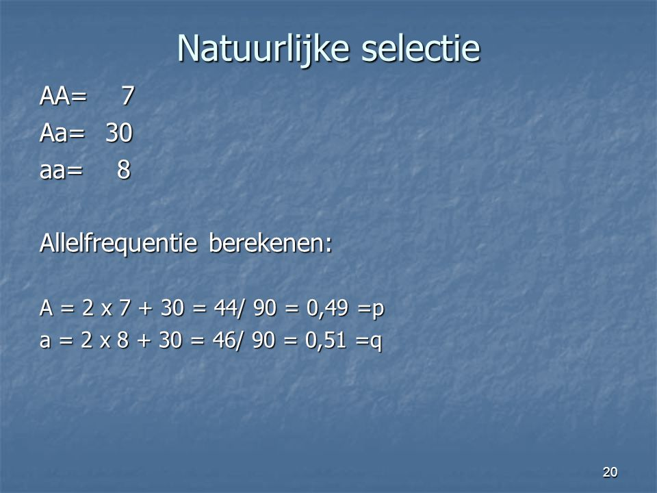 Natuurlijke selectie AA= 7 Aa= 30 aa= 8 Allelfrequentie berekenen: