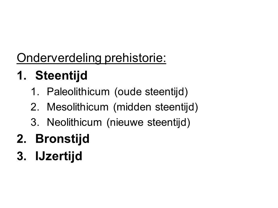Onderverdeling prehistorie: Steentijd