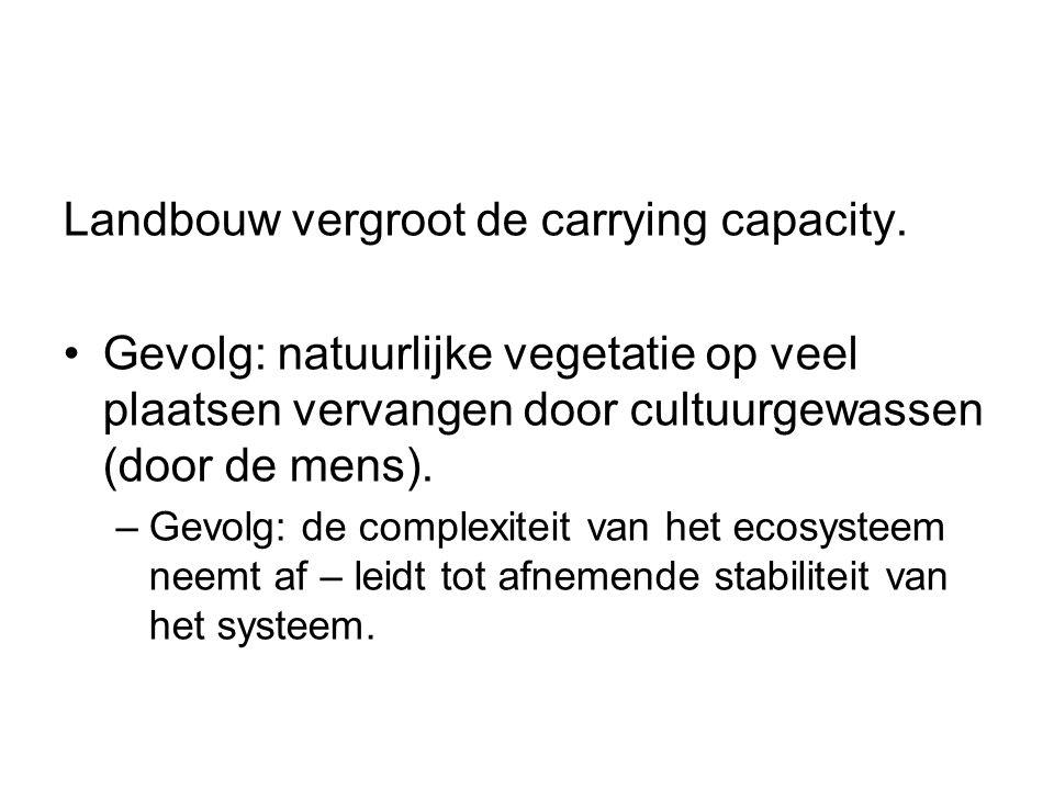 Landbouw vergroot de carrying capacity.