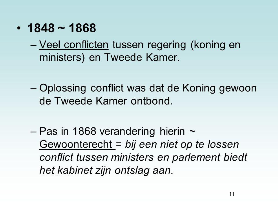 1848 ~ 1868 Veel conflicten tussen regering (koning en ministers) en Tweede Kamer.