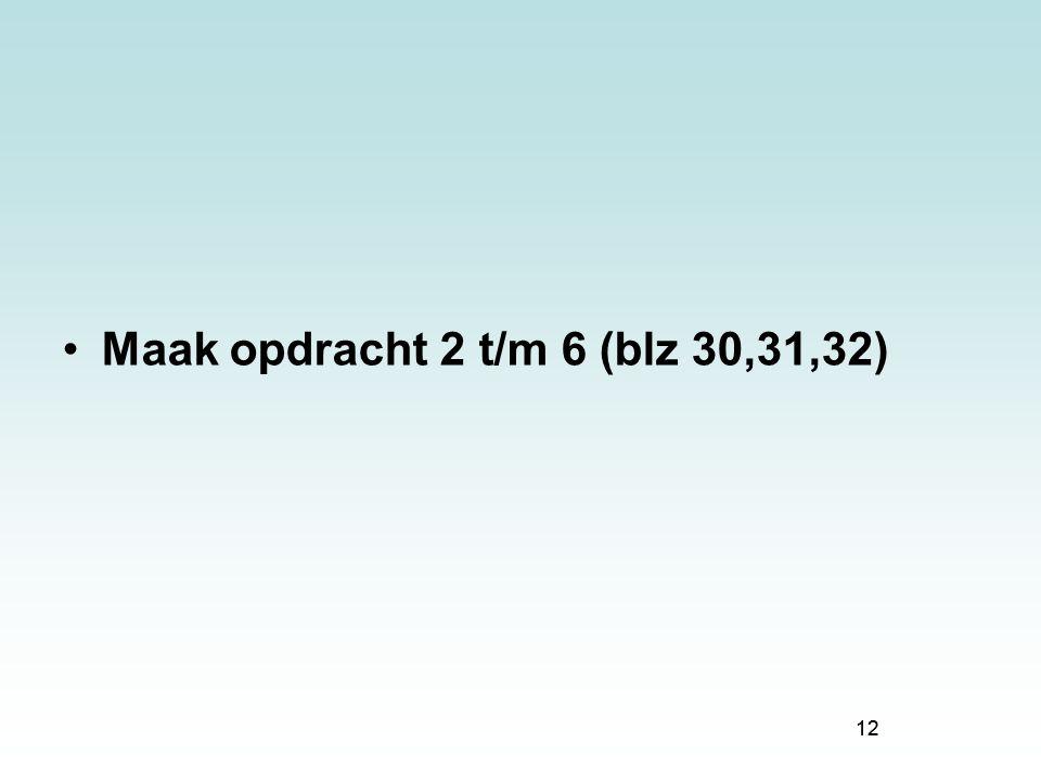 Maak opdracht 2 t/m 6 (blz 30,31,32)