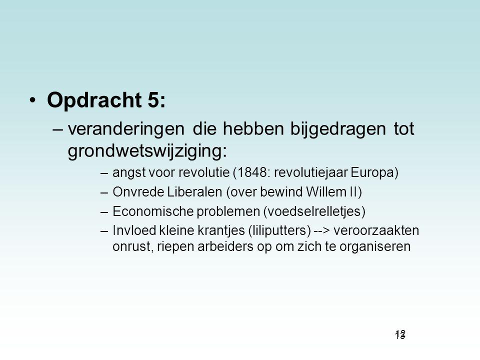 Opdracht 5: veranderingen die hebben bijgedragen tot grondwetswijziging: angst voor revolutie (1848: revolutiejaar Europa)