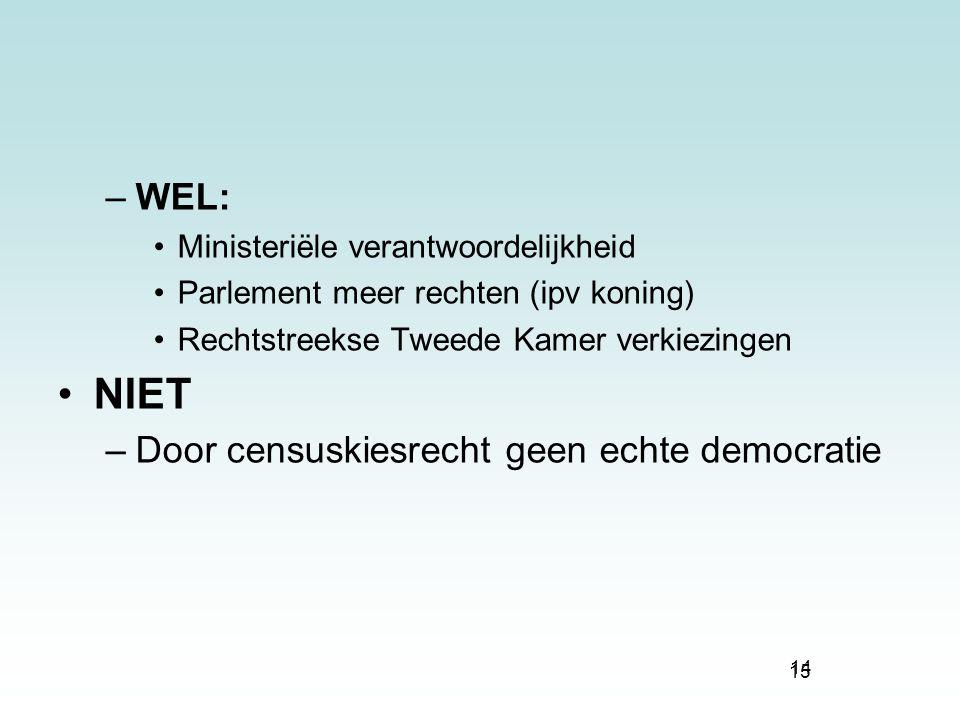 NIET WEL: Door censuskiesrecht geen echte democratie