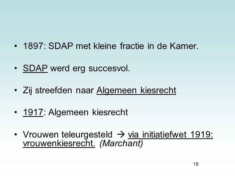 1897: SDAP met kleine fractie in de Kamer.