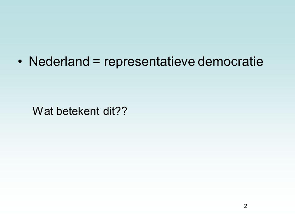 Nederland = representatieve democratie