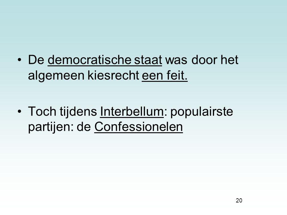 De democratische staat was door het algemeen kiesrecht een feit.