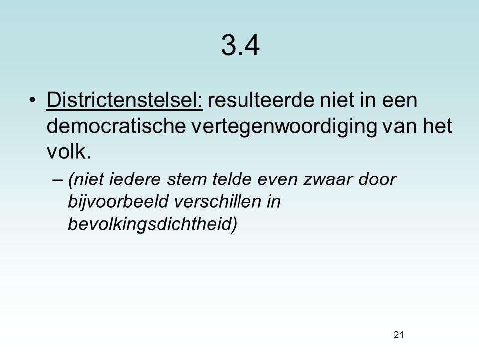 3.4 Districtenstelsel: resulteerde niet in een democratische vertegenwoordiging van het volk.