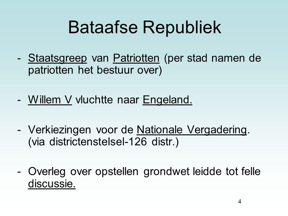 Bataafse Republiek Staatsgreep van Patriotten (per stad namen de patriotten het bestuur over) Willem V vluchtte naar Engeland.