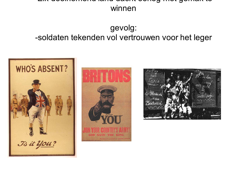De start van WOI 1914 aannames: -De oorlog zou kort duren (zoals Pruissisch/Franse oorlog 1870) -Elk deelnemend land dacht oorlog met gemak te winnen gevolg: -soldaten tekenden vol vertrouwen voor het leger