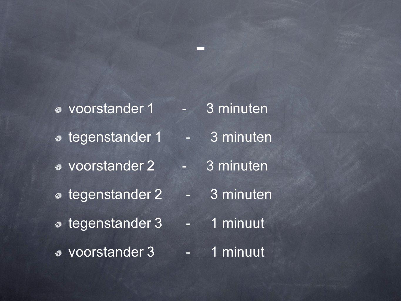 - voorstander 1 - 3 minuten tegenstander 1 - 3 minuten