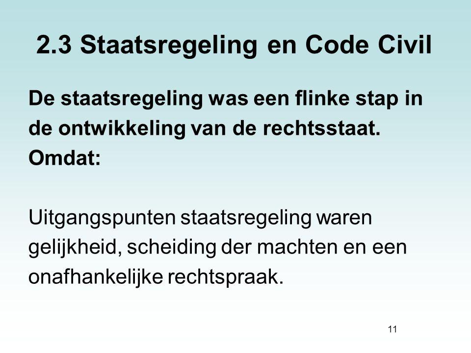 2.3 Staatsregeling en Code Civil