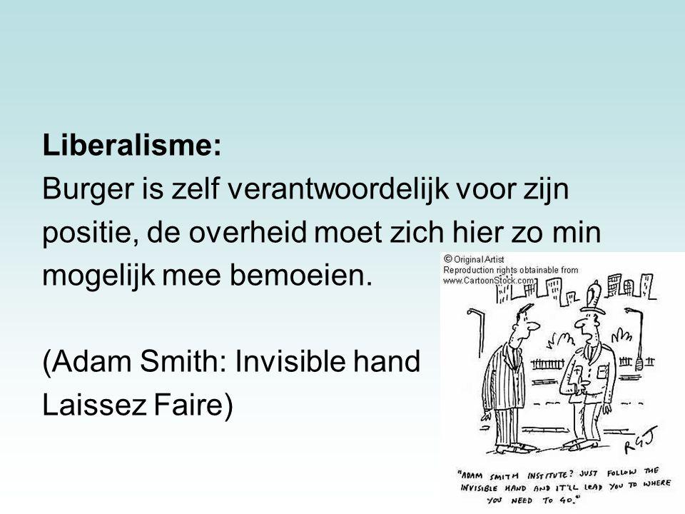 Liberalisme: Burger is zelf verantwoordelijk voor zijn. positie, de overheid moet zich hier zo min.