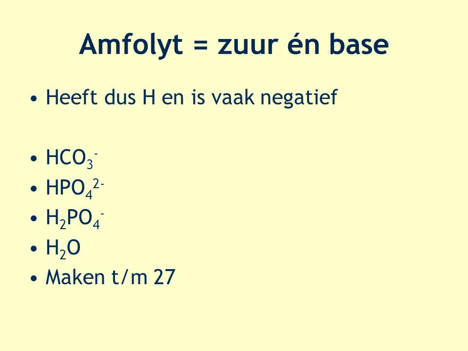 Amfolyt = zuur én base Heeft dus H en is vaak negatief HCO3- HPO42-