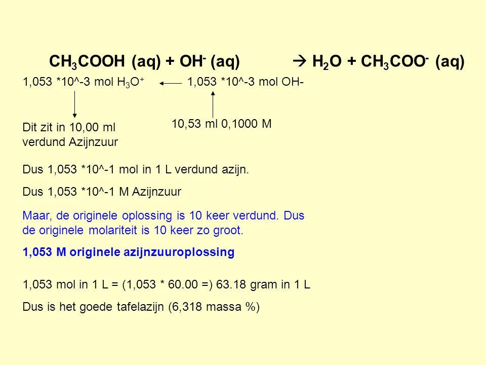 CH3COOH (aq) + OH- (aq)  H2O + CH3COO- (aq)