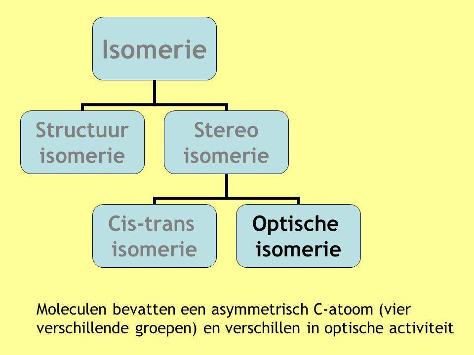 Moleculen bevatten een asymmetrisch C-atoom (vier verschillende groepen) en verschillen in optische activiteit