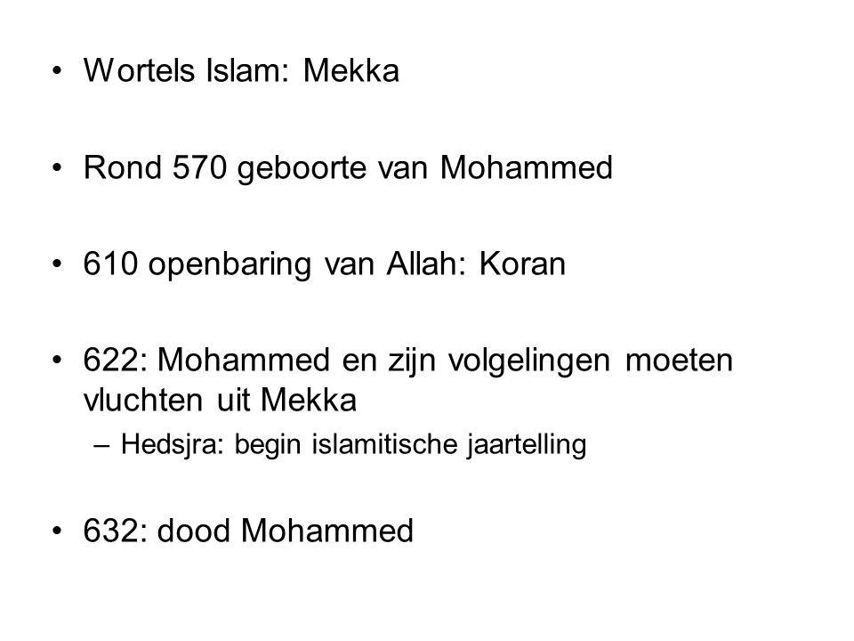 Rond 570 geboorte van Mohammed 610 openbaring van Allah: Koran