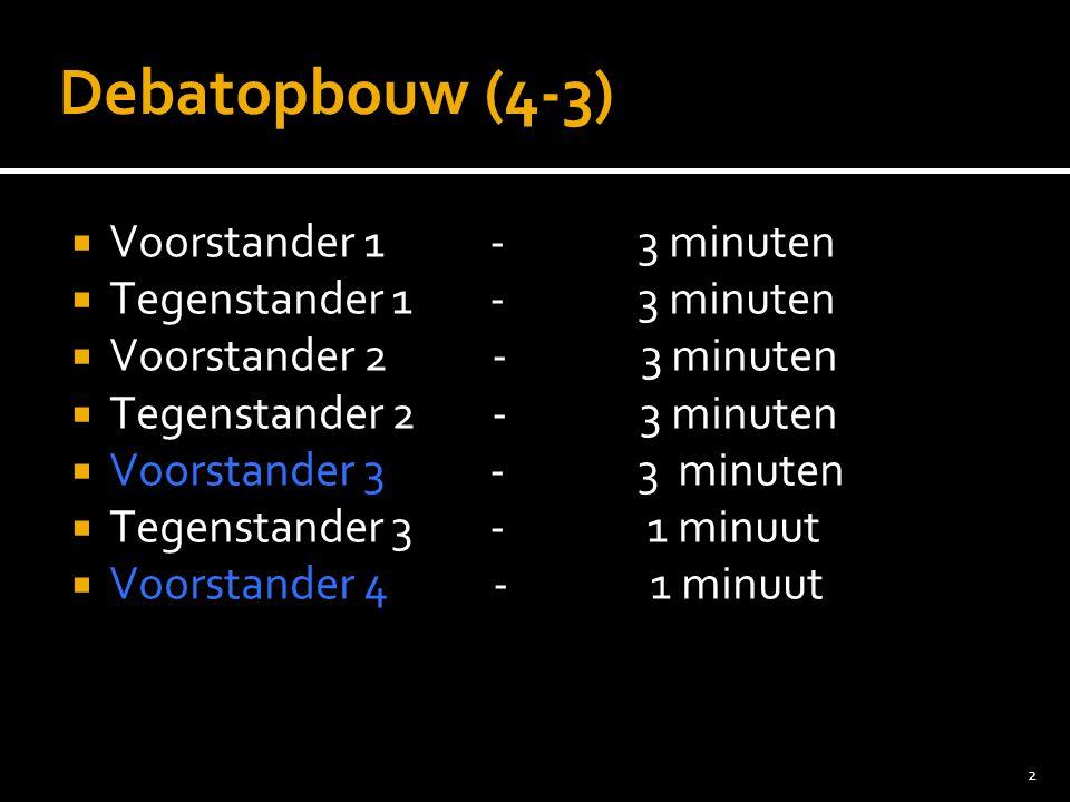 Debatopbouw (4-3) Voorstander 1 - 3 minuten Tegenstander 1 - 3 minuten