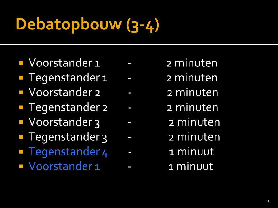 Debatopbouw (3-4) Voorstander 1 - 2 minuten Tegenstander 1 - 2 minuten