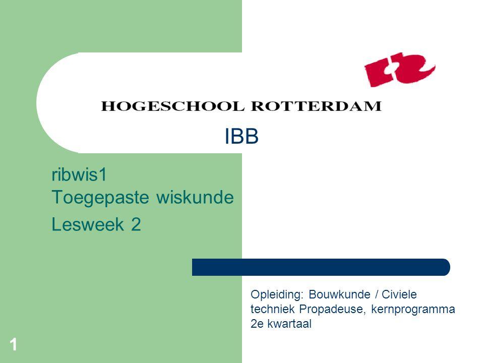 ribwis1 Toegepaste wiskunde Lesweek 2