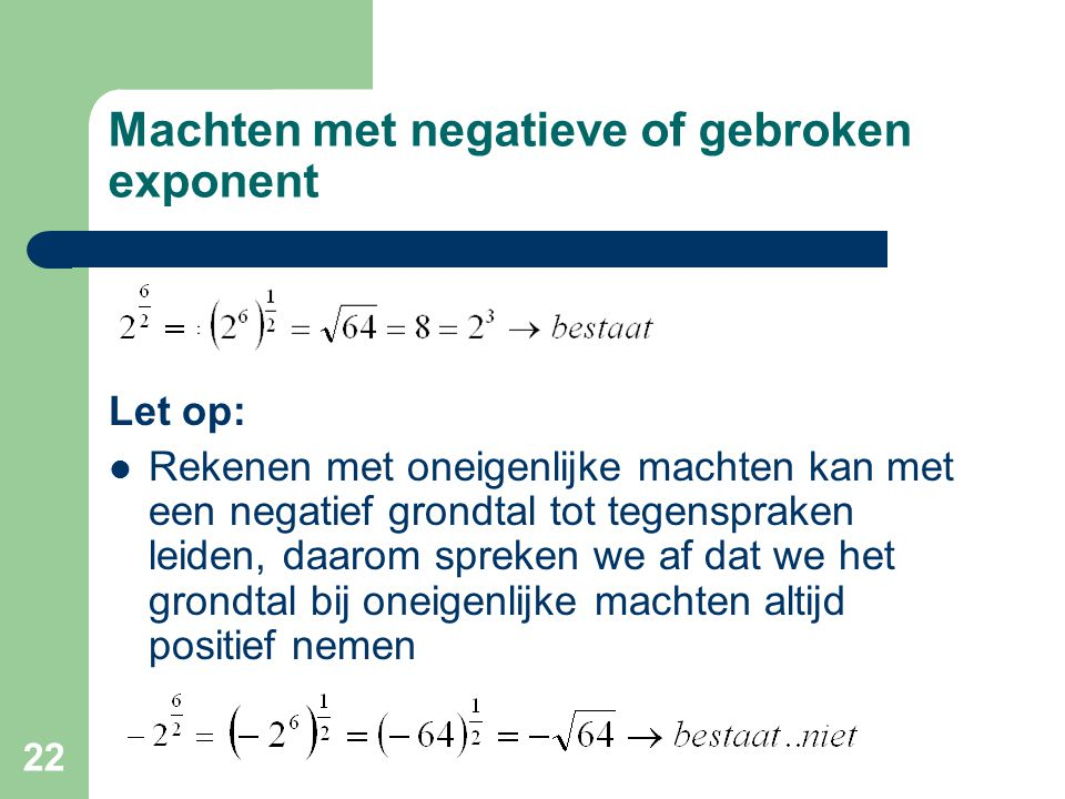 Machten met negatieve of gebroken exponent