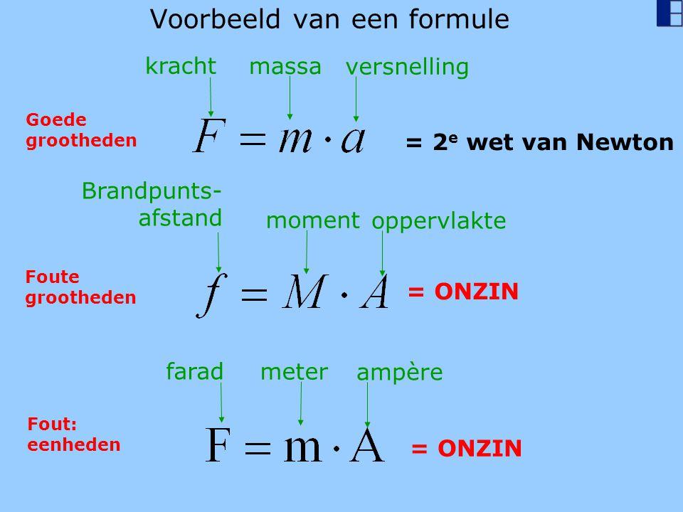 Voorbeeld van een formule