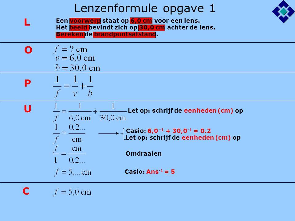 Lenzenformule opgave 1 L O P U C