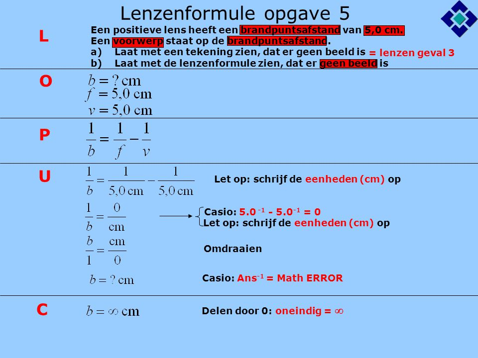 Lenzenformule opgave 5 L O P U C