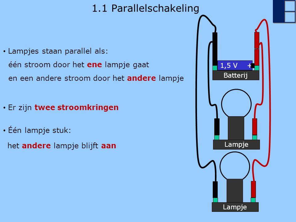 1.1 Parallelschakeling Lampjes staan parallel als: