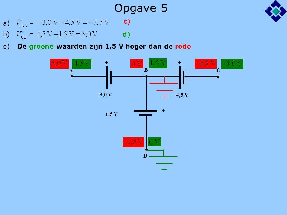 Opgave 5 c) a) b) d) e) De groene waarden zijn 1,5 V hoger dan de rode