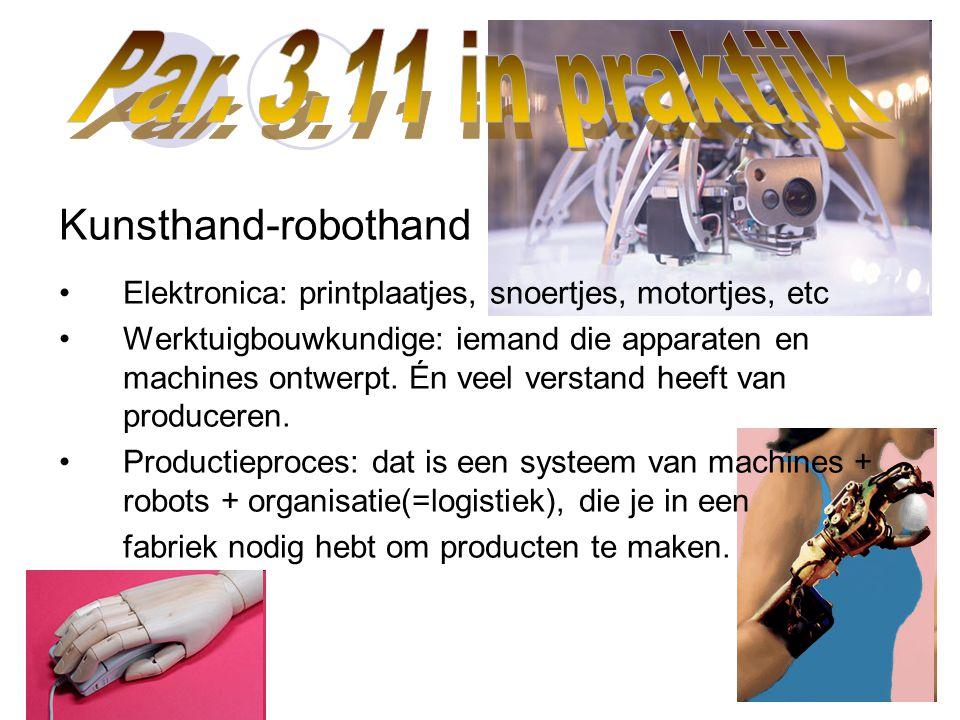 Par. 3.11 in praktijk Kunsthand-robothand. Elektronica: printplaatjes, snoertjes, motortjes, etc.