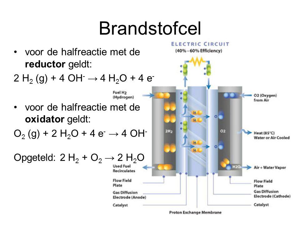 Brandstofcel voor de halfreactie met de reductor geldt: