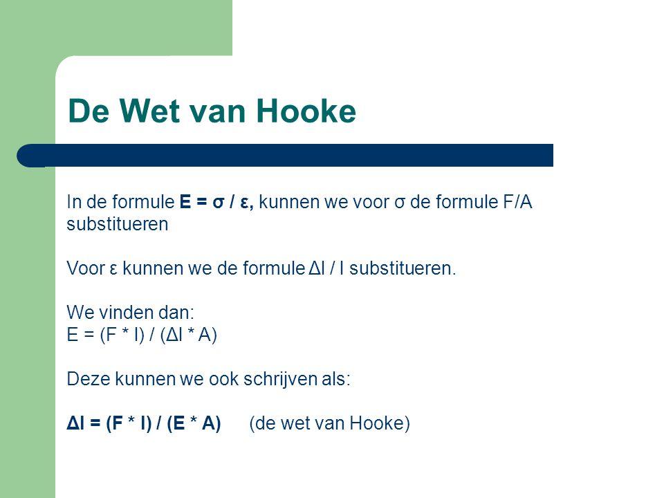 De Wet van Hooke In de formule E = σ / ε, kunnen we voor σ de formule F/A substitueren. Voor ε kunnen we de formule Δl / l substitueren.
