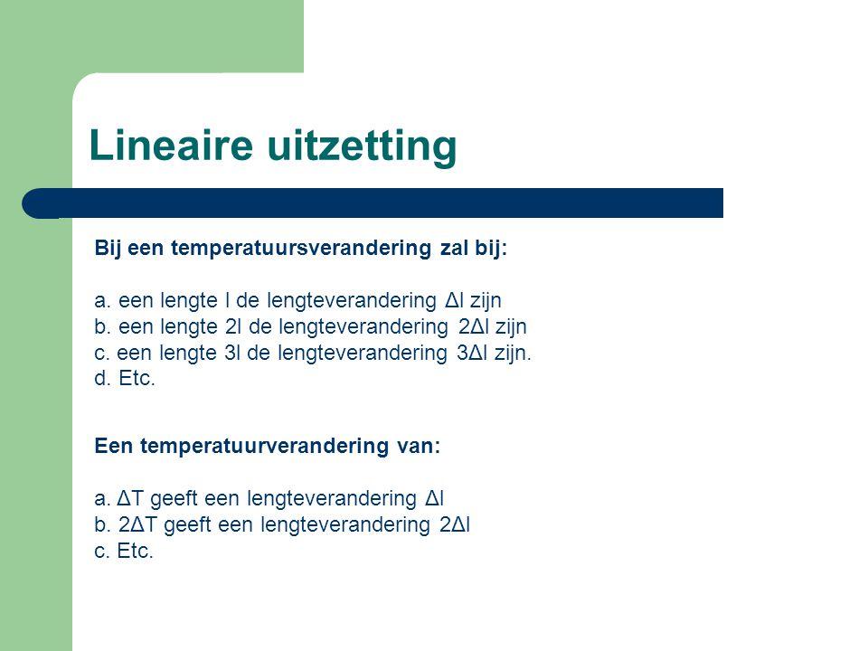 Lineaire uitzetting Bij een temperatuursverandering zal bij: