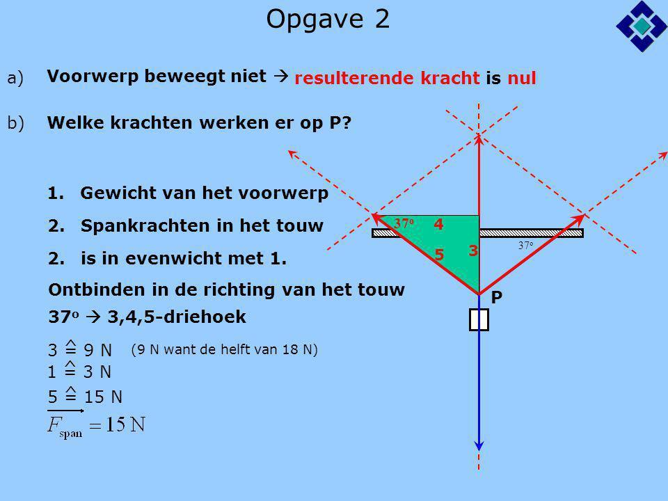 Opgave 2 a) Voorwerp beweegt niet  resulterende kracht is nul b)