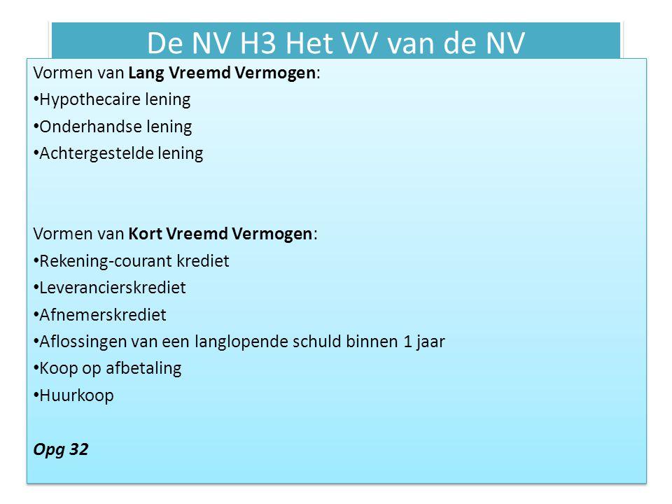 De NV H3 Het VV van de NV Vormen van Lang Vreemd Vermogen: