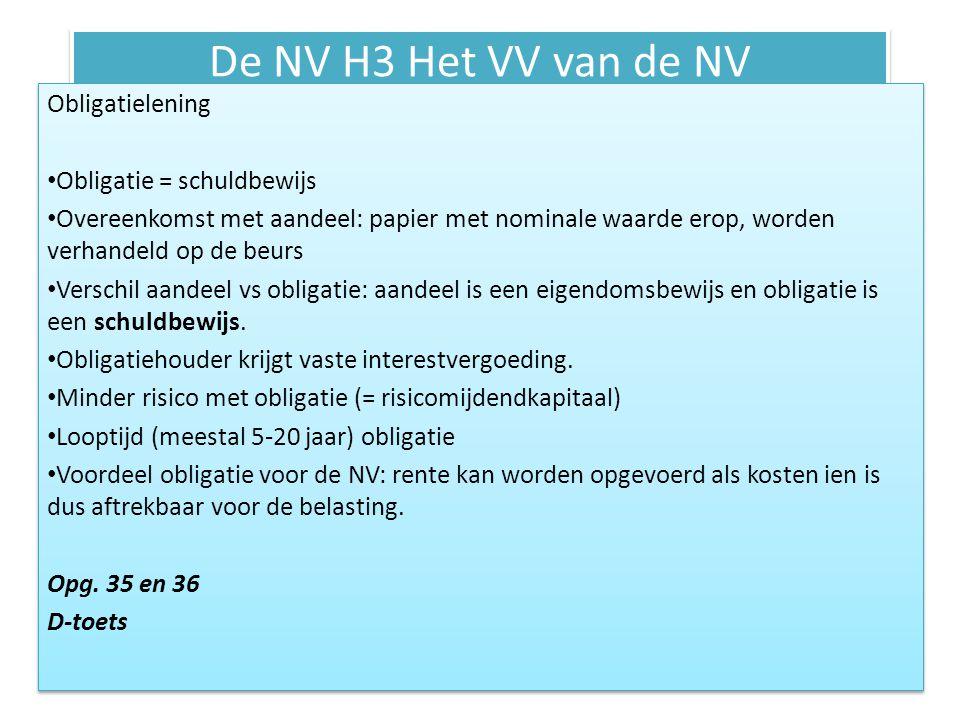 De NV H3 Het VV van de NV Obligatielening Obligatie = schuldbewijs