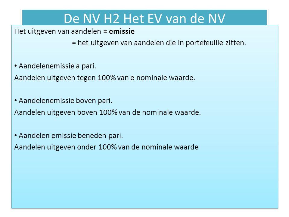 De NV H2 Het EV van de NV Het uitgeven van aandelen = emissie