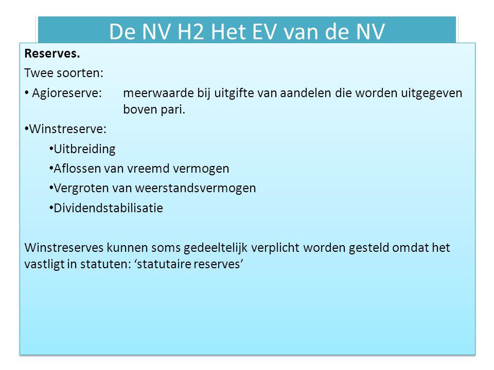 De NV H2 Het EV van de NV Reserves. Twee soorten: