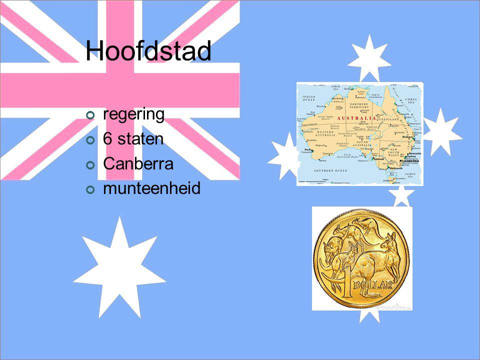 Hoofdstad regering 6 staten Canberra munteenheid