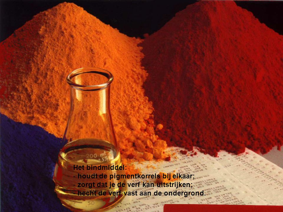 Het bindmiddel: houdt de pigmentkorrels bij elkaar; zorgt dat je de verf kan uitstrijken; hecht de verf vast aan de ondergrond.
