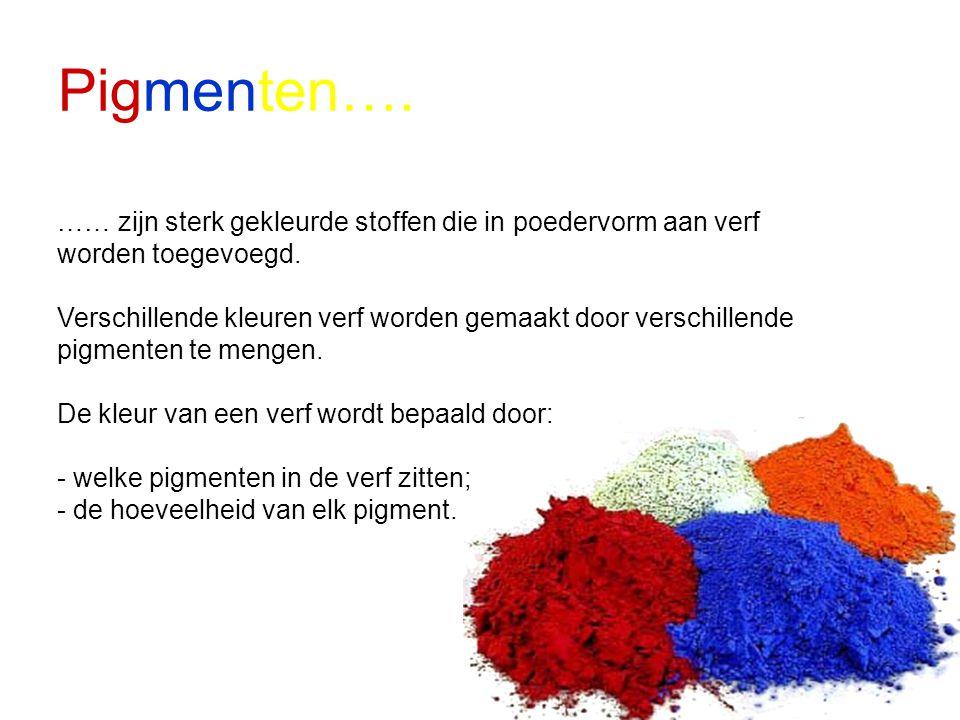 Pigmenten…. …… zijn sterk gekleurde stoffen die in poedervorm aan verf worden toegevoegd.