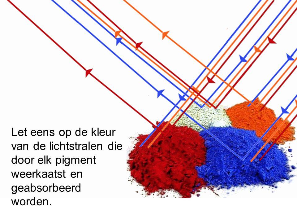 Let eens op de kleur van de lichtstralen die door elk pigment