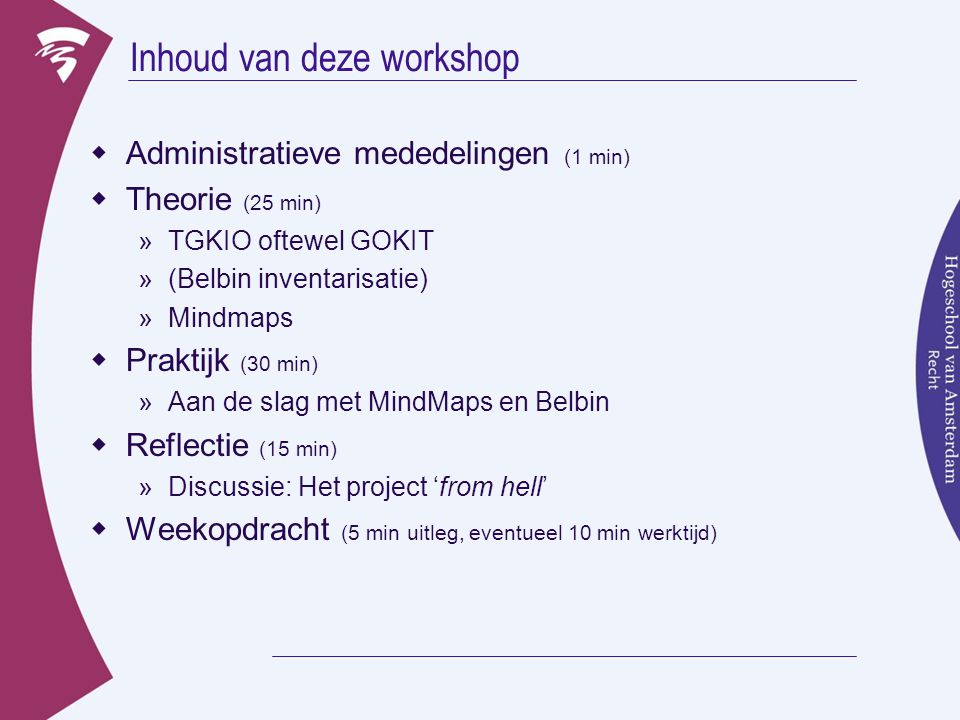 Inhoud van deze workshop