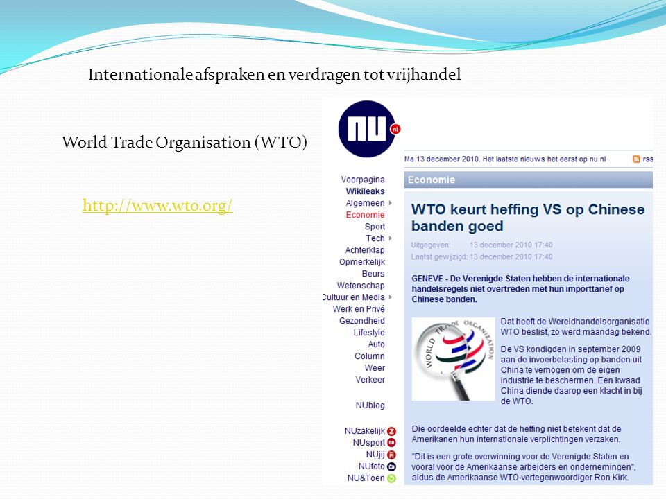 Internationale afspraken en verdragen tot vrijhandel