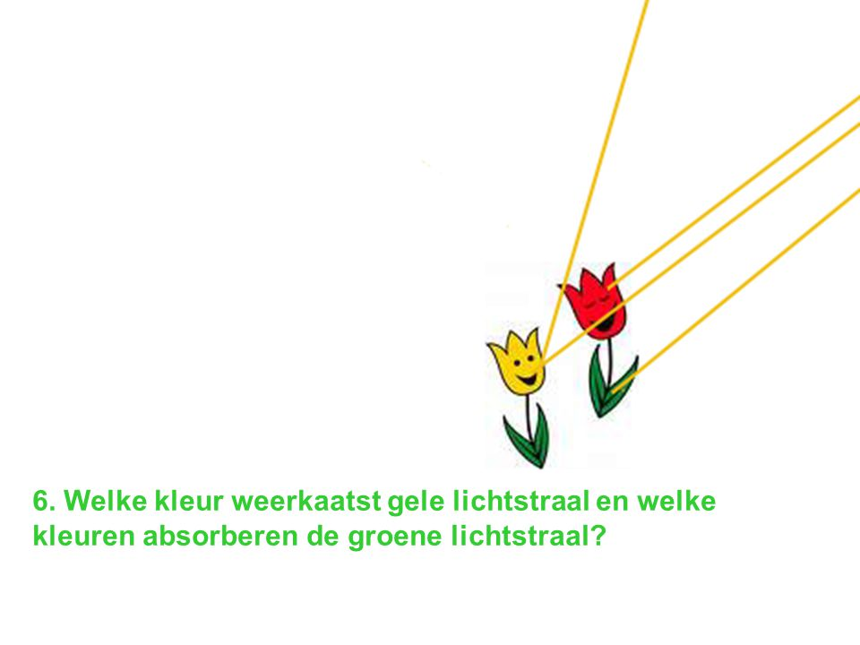 6. Welke kleur weerkaatst gele lichtstraal en welke kleuren absorberen de groene lichtstraal
