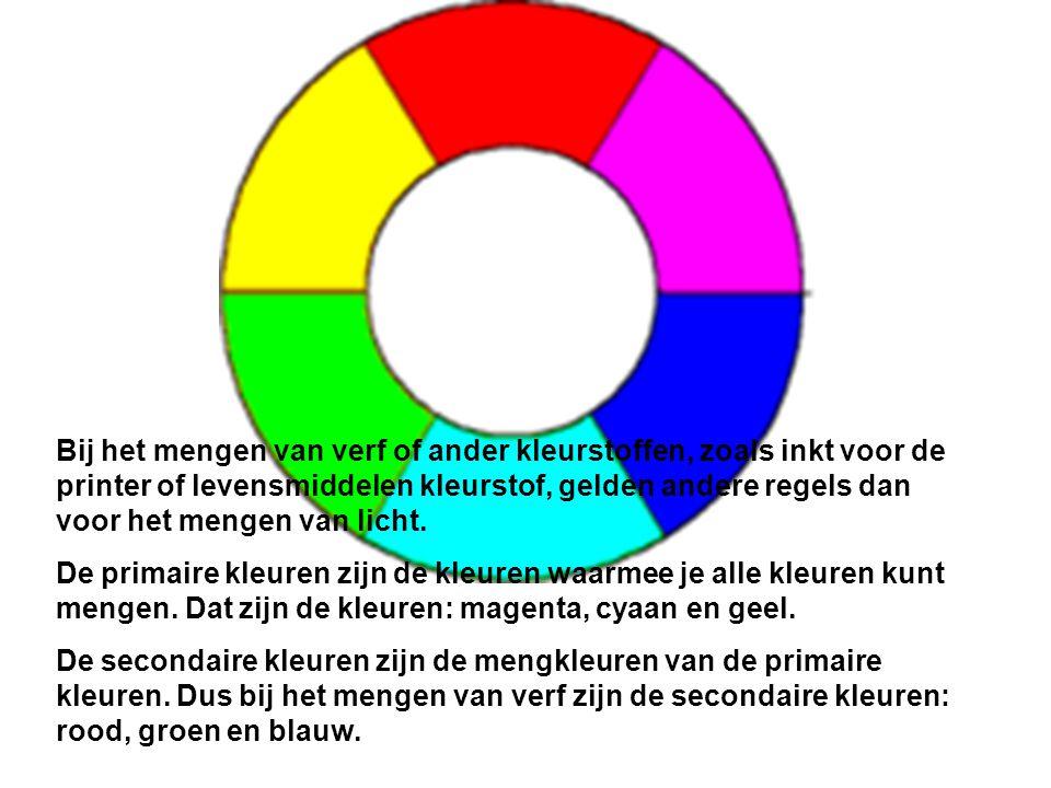 Bij het mengen van verf of ander kleurstoffen, zoals inkt voor de printer of levensmiddelen kleurstof, gelden andere regels dan voor het mengen van licht.
