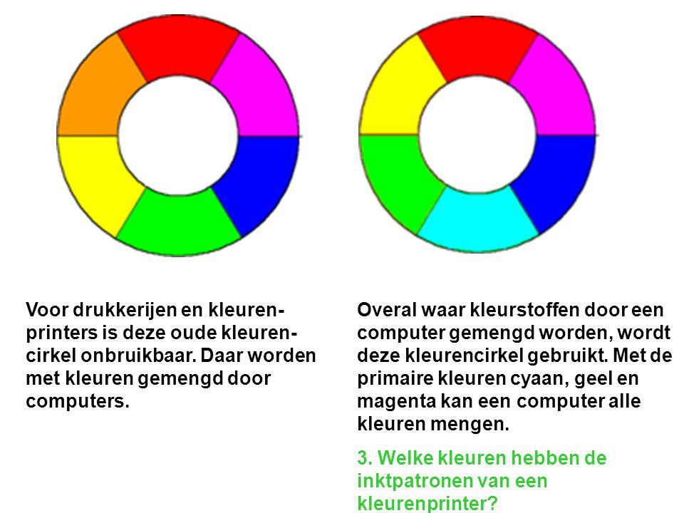Voor drukkerijen en kleuren- printers is deze oude kleuren- cirkel onbruikbaar. Daar worden met kleuren gemengd door computers.