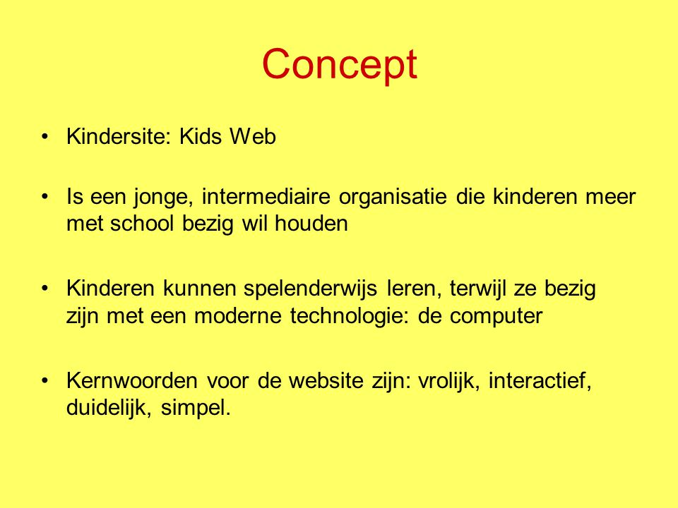 Concept Kindersite: Kids Web