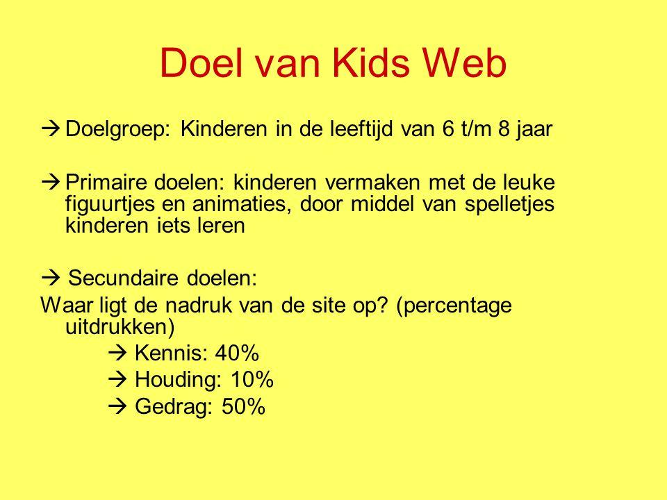 Doel van Kids Web Doelgroep: Kinderen in de leeftijd van 6 t/m 8 jaar