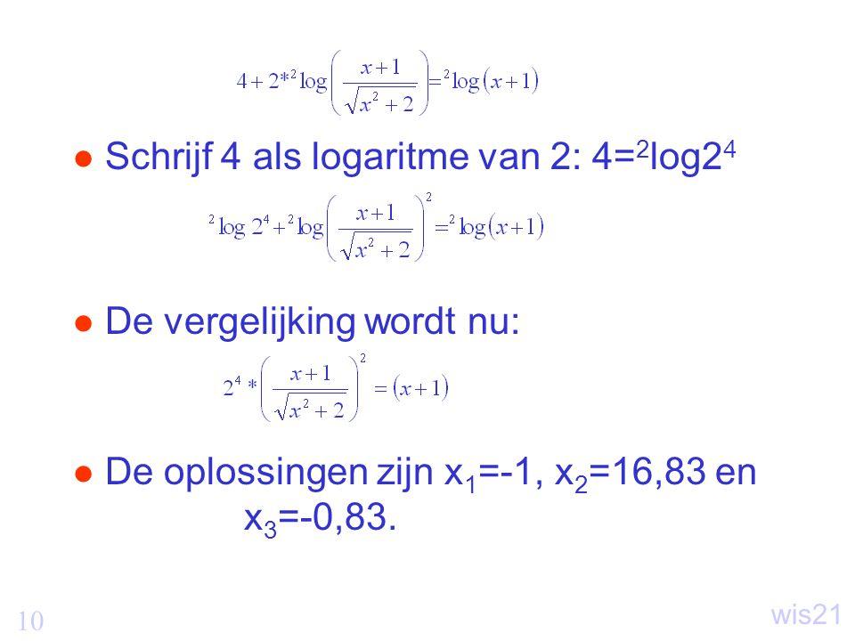 Schrijf 4 als logaritme van 2: 4=2log24